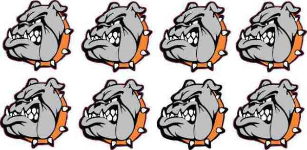 Orange Bulldog Mascot Stickers