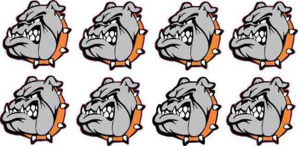 Orange Bulldog Mascot Stickers