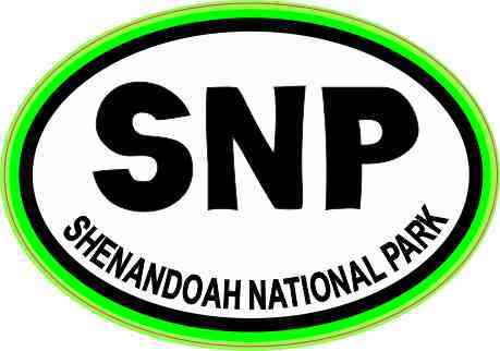 Green Oval SNP Shenandoah National Park Sticker