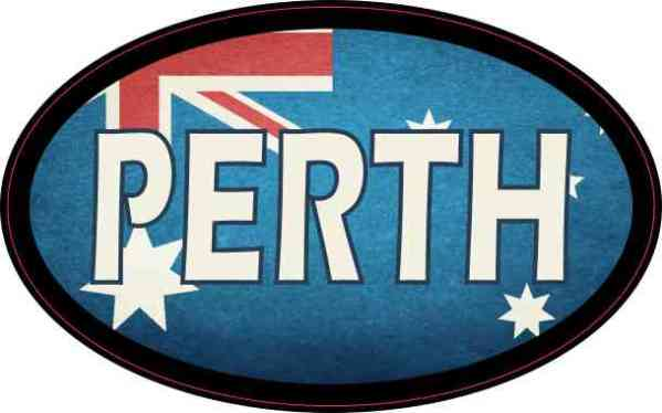 Oval Australian Flag Perth Sticker