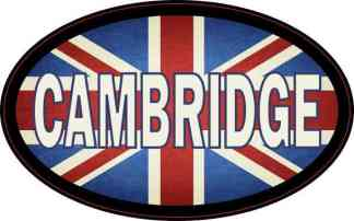 Oval UK Flag Cambridge Sticker