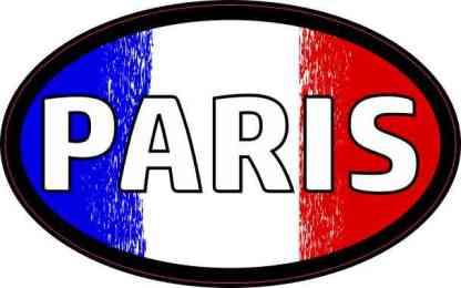 Oval French Flag Paris Sticker