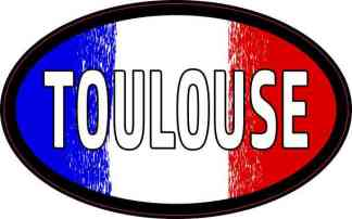 Oval French Flag Toulouse Sticker