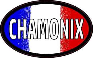 Oval French Flag Chamonix Sticker