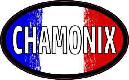 Oval French Flag Chamonix Sticker
