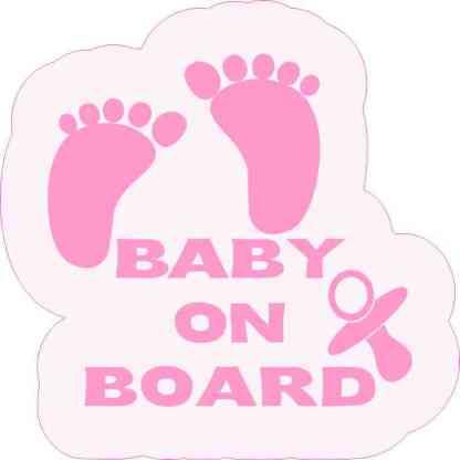Pink Pacifier Baby on Board Sticker
