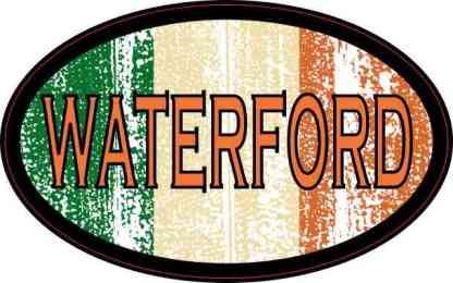 Oval Irish Flag Waterford Sticker
