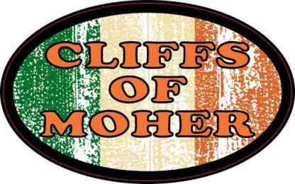 Oval Irish Flag Cliffs of Moher Sticker