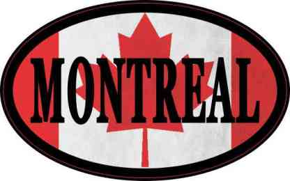 Oval Canadian Flag Montreal Sticker