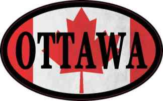Oval Canadian Flag Ottawa Sticker