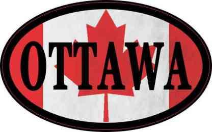 Oval Canadian Flag Ottawa Sticker