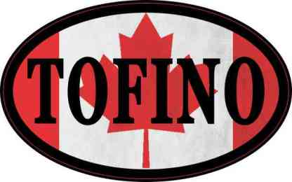 Oval Canadian Flag Tofino Sticker