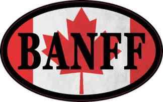 Oval Canadian Flag Banff Sticker