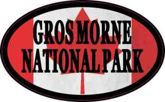 Oval Canadian Flag Gros Morne National Park Sticker