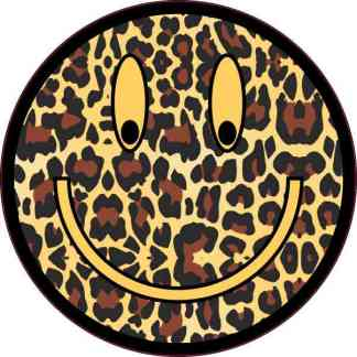 Cheetah Print Happy Face Sticker