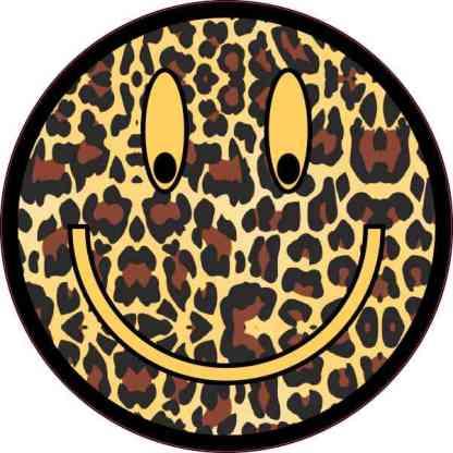 Cheetah Print Happy Face Sticker