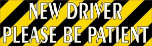 Striped New Driver Please Be Patient Sticker
