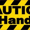Caution Use Handrails Sticker