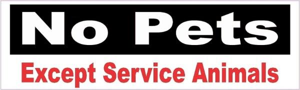 No Pets Except Service Animals Sticker