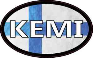 Oval Finnish Flag Kemi Sticker