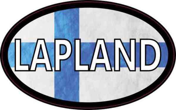 Oval Finnish Flag Lapland Sticker