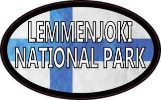 Oval Finnish Flag Lemmenjoki National Park Sticker