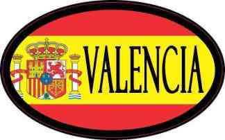 Oval Spanish Flag Valencia Sticker