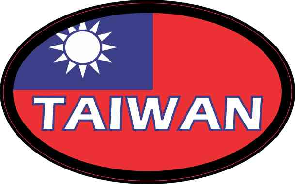 Flag oval taiwan sticker