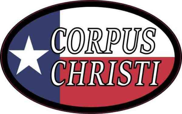 Oval Texan Flag Corpus Christi Sticker