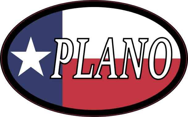 Oval Texan Flag Plano Sticker