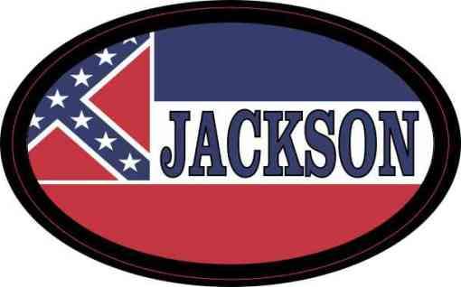 Oval Mississippi Flag Jackson Sticker