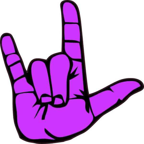 Purple ASL I Love You Sticker