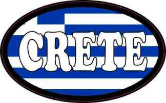 Oval Greek Flag Crete Sticker