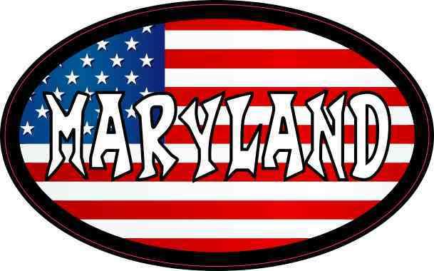 Oval American Flag Maryland Sticker