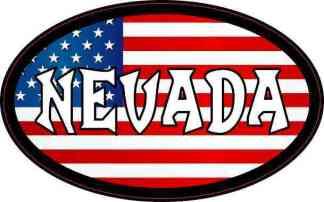 Oval American Flag Nevada Sticker