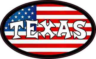 Oval American Flag Texas Sticker