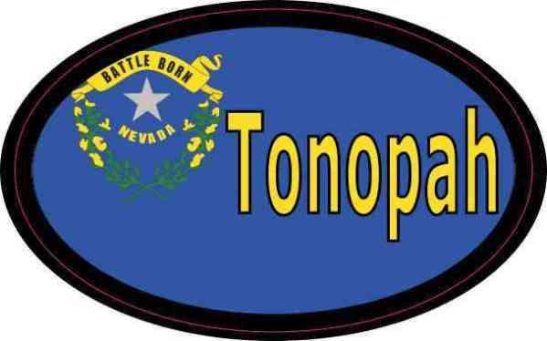 Oval Nevada Flag Tonopah Sticker