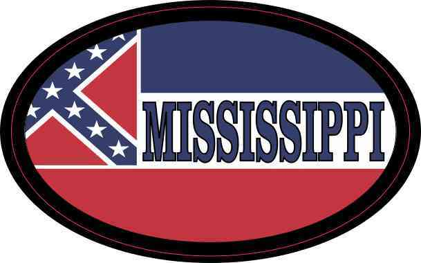 Flag Oval Mississippi Sticker