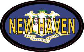 Oval Connecticut Flag New Haven Sticker