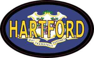 Oval Connecticut Flag Hartford Sticker