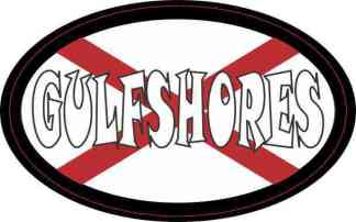 Oval Alabaman Flag Gulf Shores Sticker