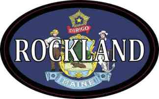 Oval Maine Flag Rockland Sticker