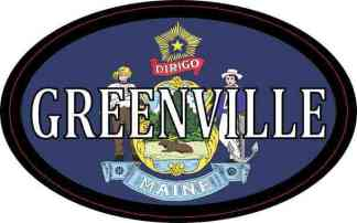 Oval Maine Flag Greenville Sticker