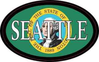 Oval Washington Flag Seattle Sticker