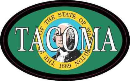Oval Washington Flag Tacoma Sticker