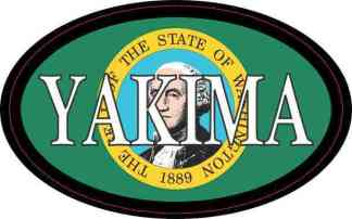 Oval Washington Flag Yakima Sticker