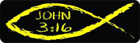 Christian Fish John 3:16 Bumper Sticker