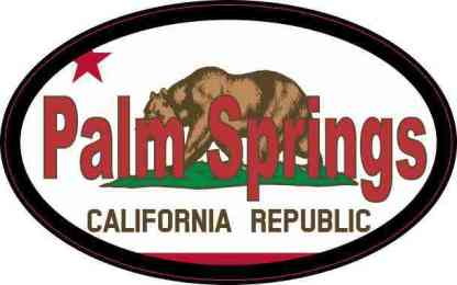 Oval Californian Flag Palm Springs Sticker