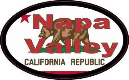 Red Oval Californian Flag Napa Valley Sticker