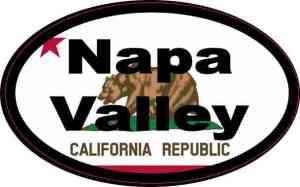 Oval Californian Flag Napa Valley Sticker